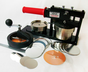 "3"" Standard Kit - PAPER Button Maker Machine, Fixed Rotary Circle Cutter and 200 Mirror Parts"