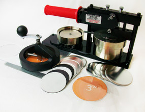 "3"" Standard Kit - PAPER Button Maker Machine, Fixed Rotary Circle Cutter and 100 Magnet Parts"