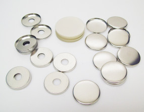 """1.25"""" Tecre Metal FLAT Back Button Parts WITH HOLE 1-1/4 Inch - 100"""