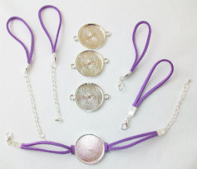 "Bracelet Kits for 1"" Buttons - 23mm Bezel - Enough to make 50 Bracelets-PURPLE"