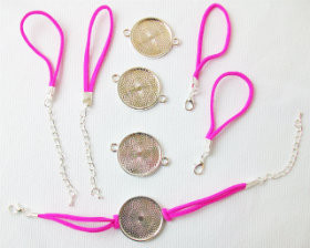 "Bracelet Kits for 1"" Buttons - 23mm Bezel - Enough to make 50 Bracelets-HOT PINK"