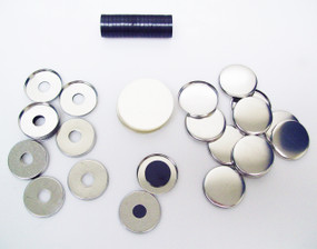 250 Tecre 1.25 Inch Metal Flat Back MAGNET Button Parts WITH HOLE and Beveled Perfect Fit Magnets