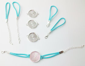 "Bracelet Kits for 1"" Buttons - 23 mm Bezel - Enough to make 50 Bracelets-AQUA"