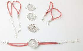 "Bracelet Kits for 1"" Buttons - 23 mm Bezel - Enough to make 50 Bracelets-DUST PINK"