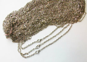 100  Rolo Antique Silver Chain Necklaces 24""