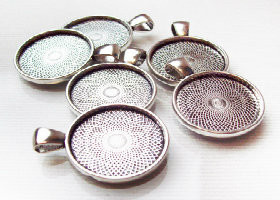 "50 Antique Silver Pendant Trays 23mm for use with 1"" Buttons"