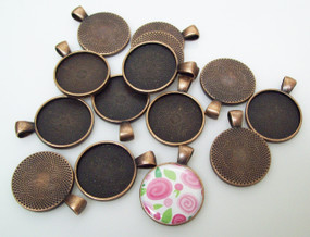 "50 Antique Copper Pendant Trays 23mm for use with 1"" Buttons"