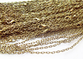 100 Antique Bronze Rolo Chain Necklaces 24""
