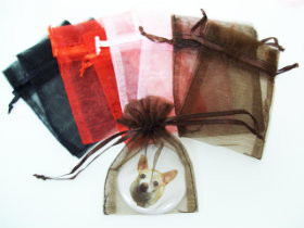 "12 Sheer Organza Bags 3"" x 4""  - Pack of 12- Choose your color"
