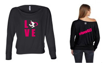'LOVE GLF' Off-The-Shoulder Long Sleeve