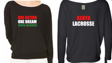'KENYA LACROSSE' Flowy off the shoulder
