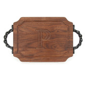 "Carved Initial 9"" x 12"" Scalloped Walnut Cutting Board w/Twisted Handles and Laser Engraved Signatures"