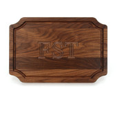"""Carved Monogram 12"""" x 18"""" Scalloped Walnut Cutting Board w/ Engraved Signatures"""