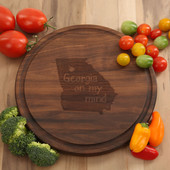 Georgia On My Mind Circle Walnut Cutting Board