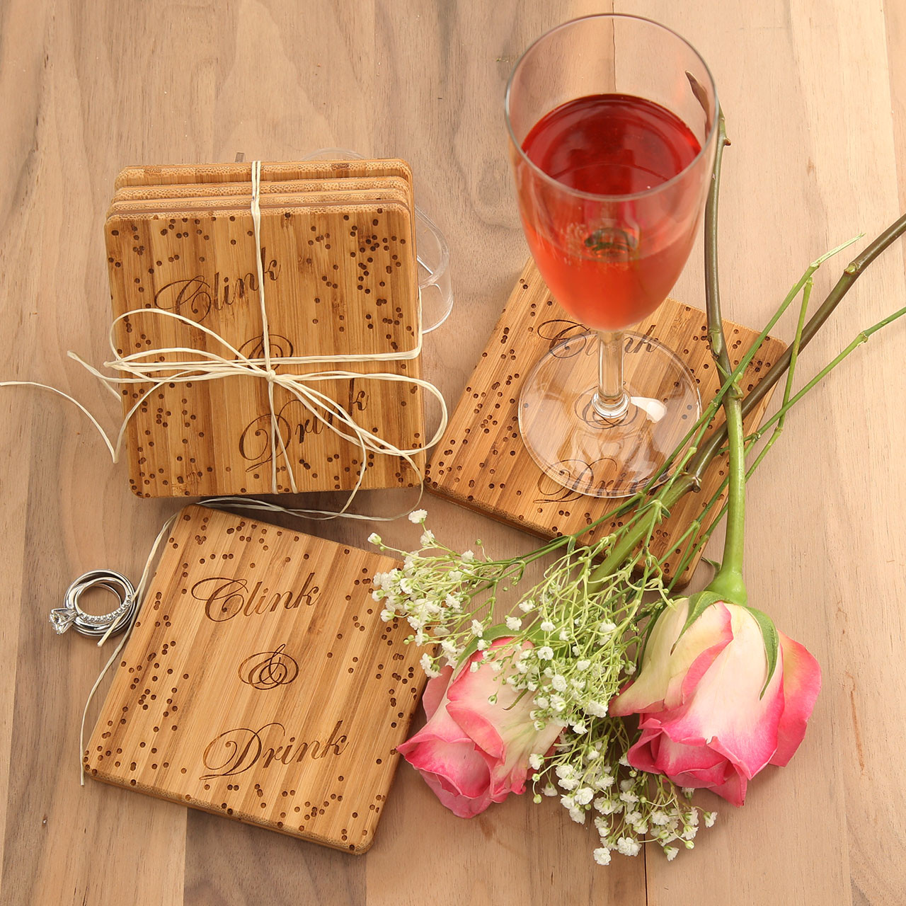 Clink drink coaster set bamboo custom cutting boards gifts engraved - Coaster sets for drinks ...