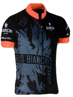 Bianchi Milano Cinca Black Red Jersey Front View