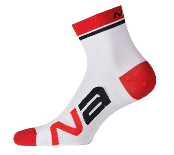 Nalini Logo White Red Socks
