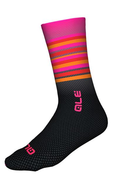 ALE Stripe 7 Inch 18 CM Pink Fluo Black Socks