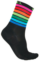 ALE QSkin Summer 6 Inch 16 CM High Rainbow Black Socks