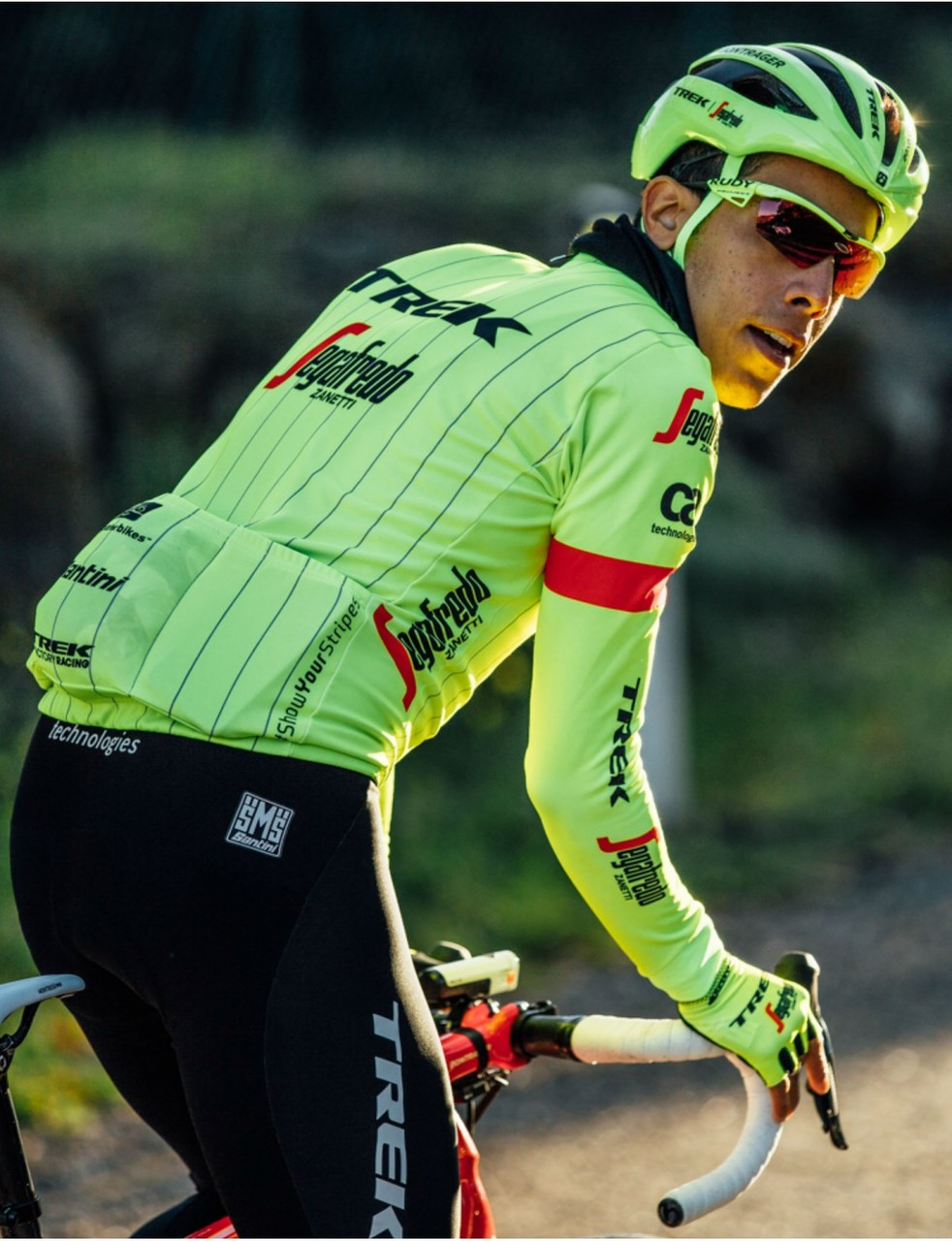 2018 Trek Segafredo Fluo Long Sleeve Jersey Rear