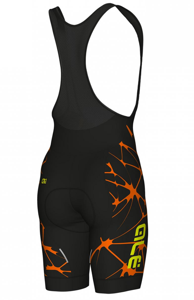 ALE' Crackle Solid Orange Bib Shorts