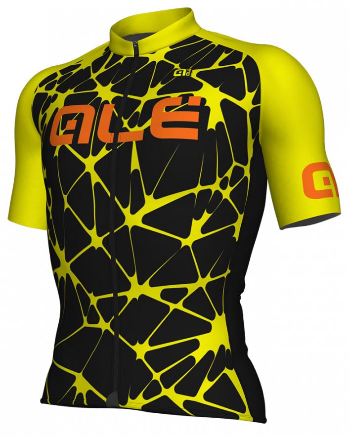 ALE' Crackle Solid Black Fluo Yellow Jersey