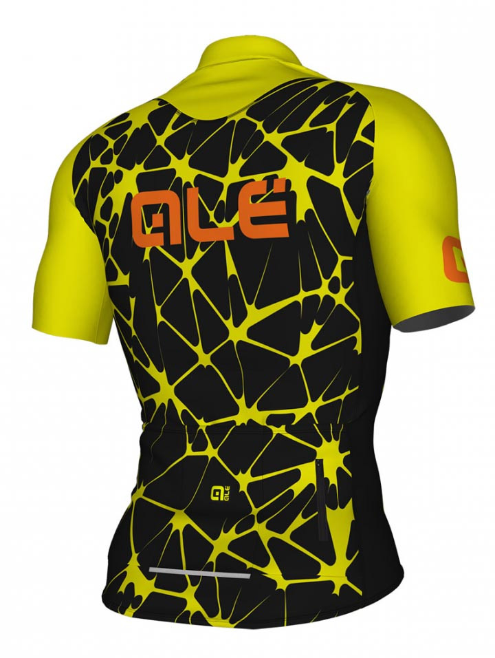 ALE' Crackle Solid Black Fluo Yellow Jersey Rear