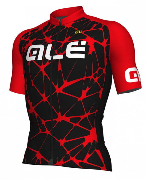 ALE' Crackle Solid Black Red Jersey