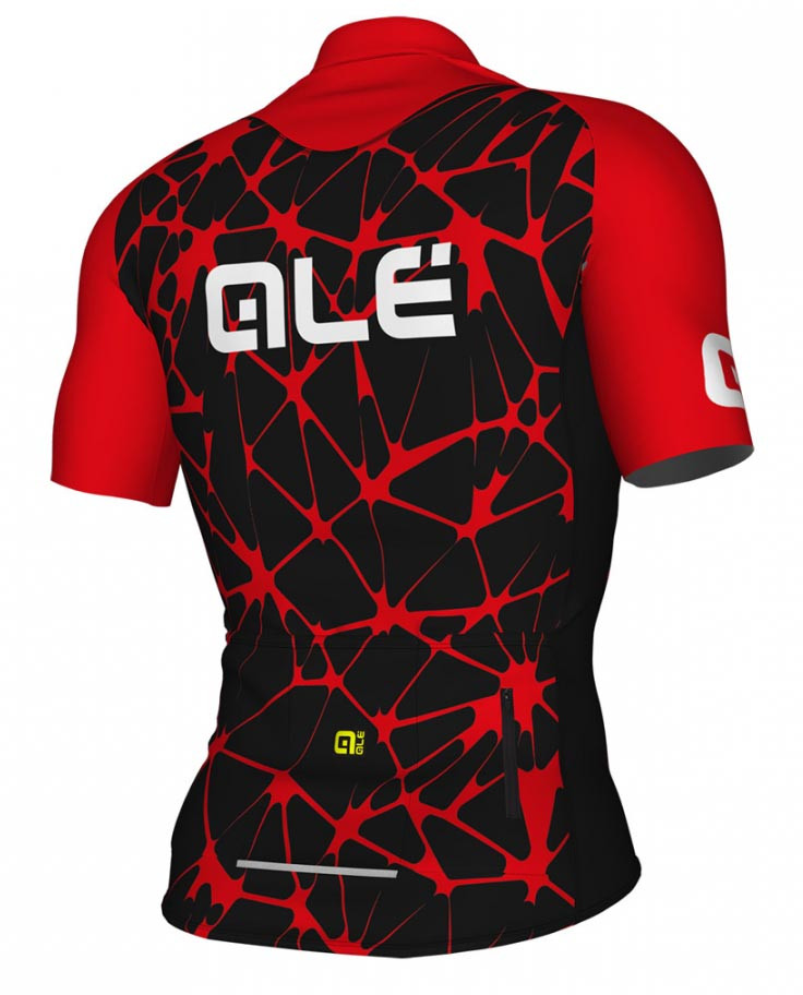 ALE' Crackle Solid Black Red Jersey Rear