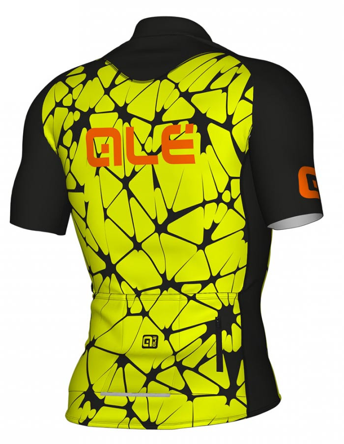 ALE' Crackle Solid Yellow Fluo Jersey Rear