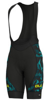 ALE' Glass PRR Black Turquoise Bib Shorts