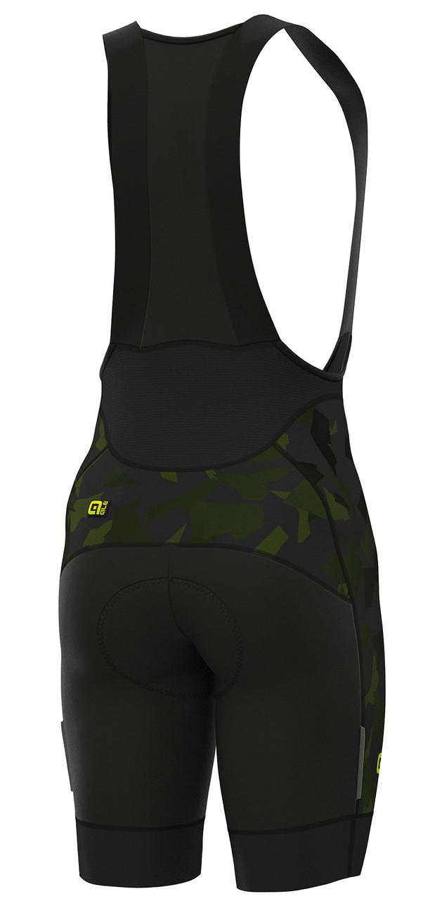 ALE' Glass PRR Black Green Bib Shorts Rear