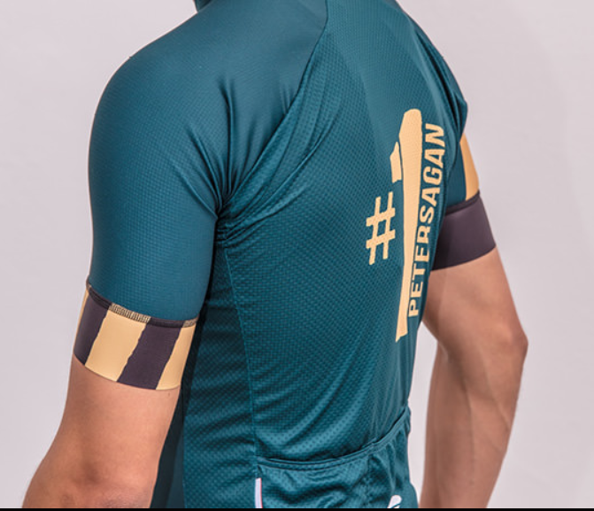 Sagan One Green Gold Full Zip Jersey  Rear