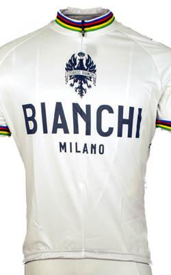 Bianchi Rainbow Jersey Close Up View