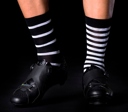 BK-NSD Stripes Mismatched Black White Socks
