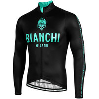 Bianchi Milano Carpegna Black Green Long Sleeve Jersey