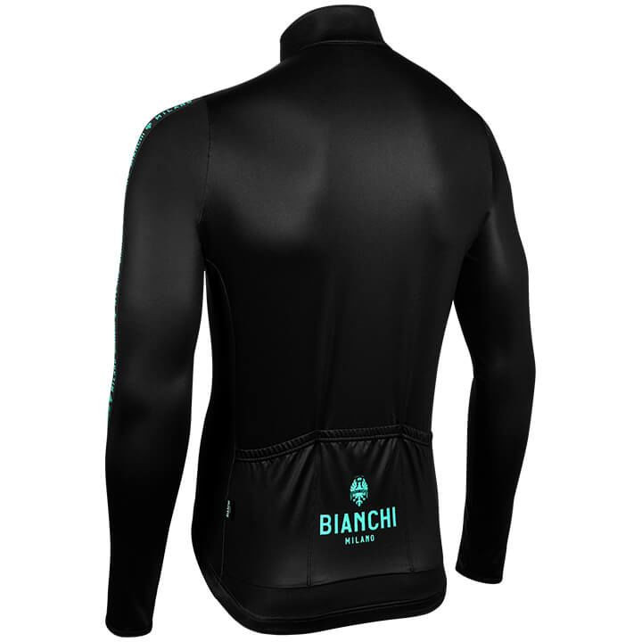 Bianchi Milano Carpegna Black Green Long Sleeve Jersey Rear