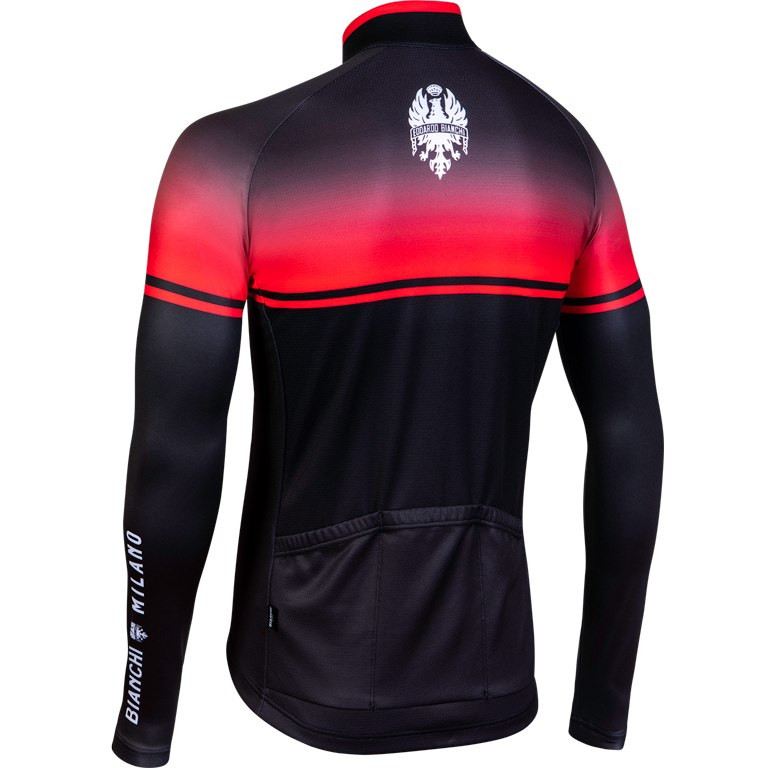 Bianchi Milano Santerno Red Black Long Sleeve Jersey Rear