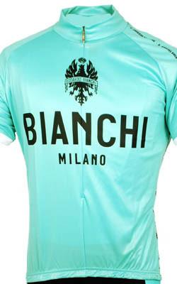 Bianchi Green Jersey Close Up View