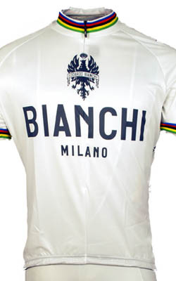 Bianchi Rainbow Jersey Close Up View