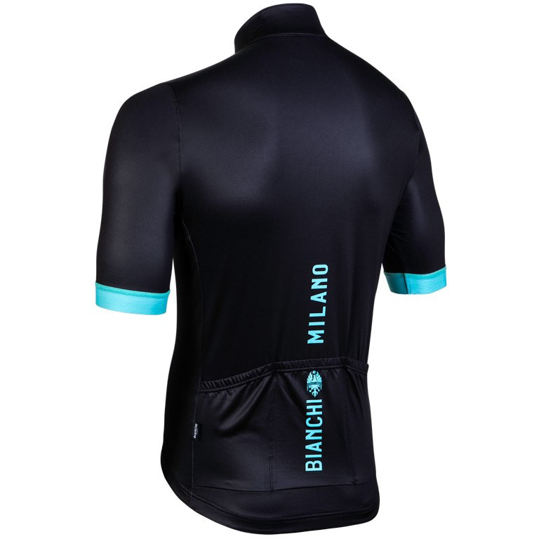 Bianchi Milano Levane Thermo Black Green Jersey Rear