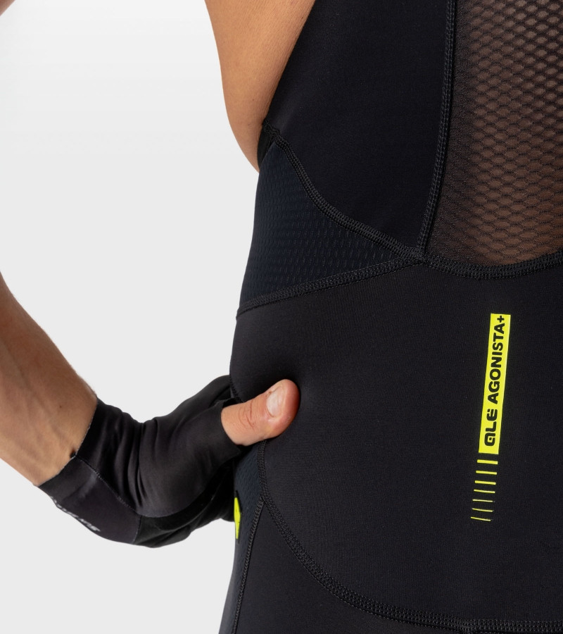 ALE' Agonista Plus R-EV1 8H Pad Yellow Fluo Black Bib Shorts Close Up