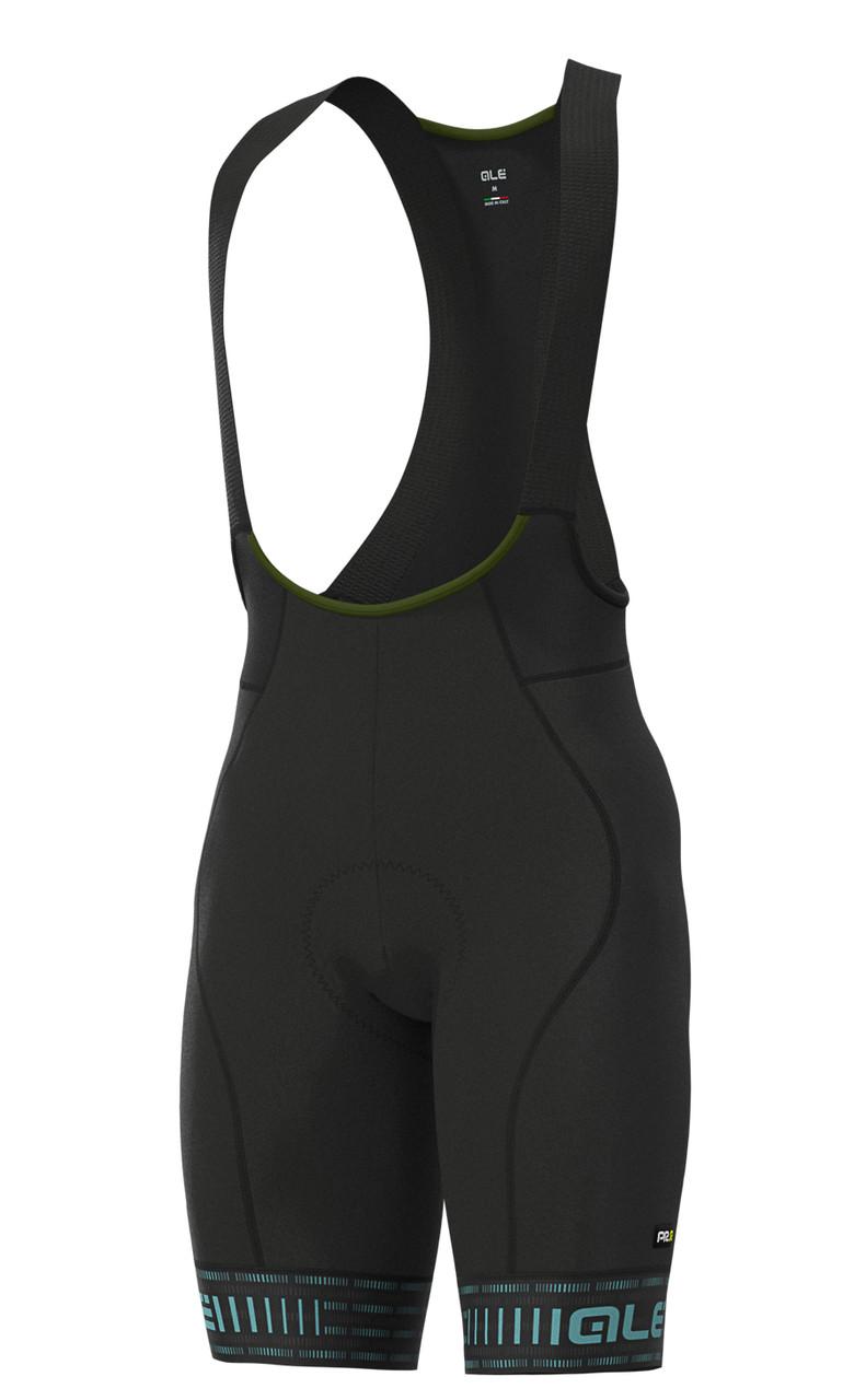 ALE' Green PRR 4H Pad Black Light Blue Bib Shorts
