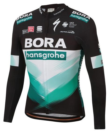 2020 Bora Hansgrohe Green Black Long Sleeve Jersey