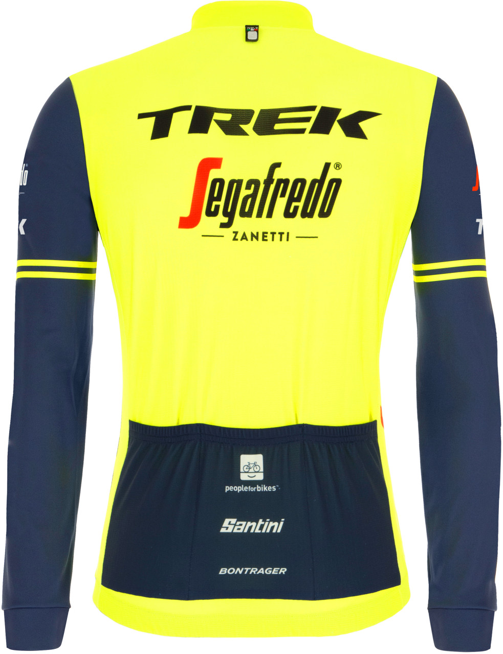 2021 Trek Segafredo Yellow Fluo Long Sleeve Jersey Rear
