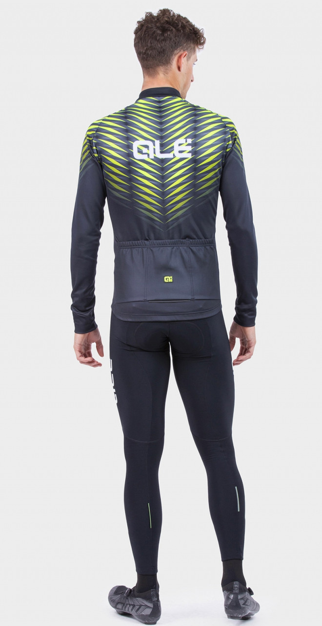 ALE' Thorn Solid Yellow Long Sleeve Jersey Rear