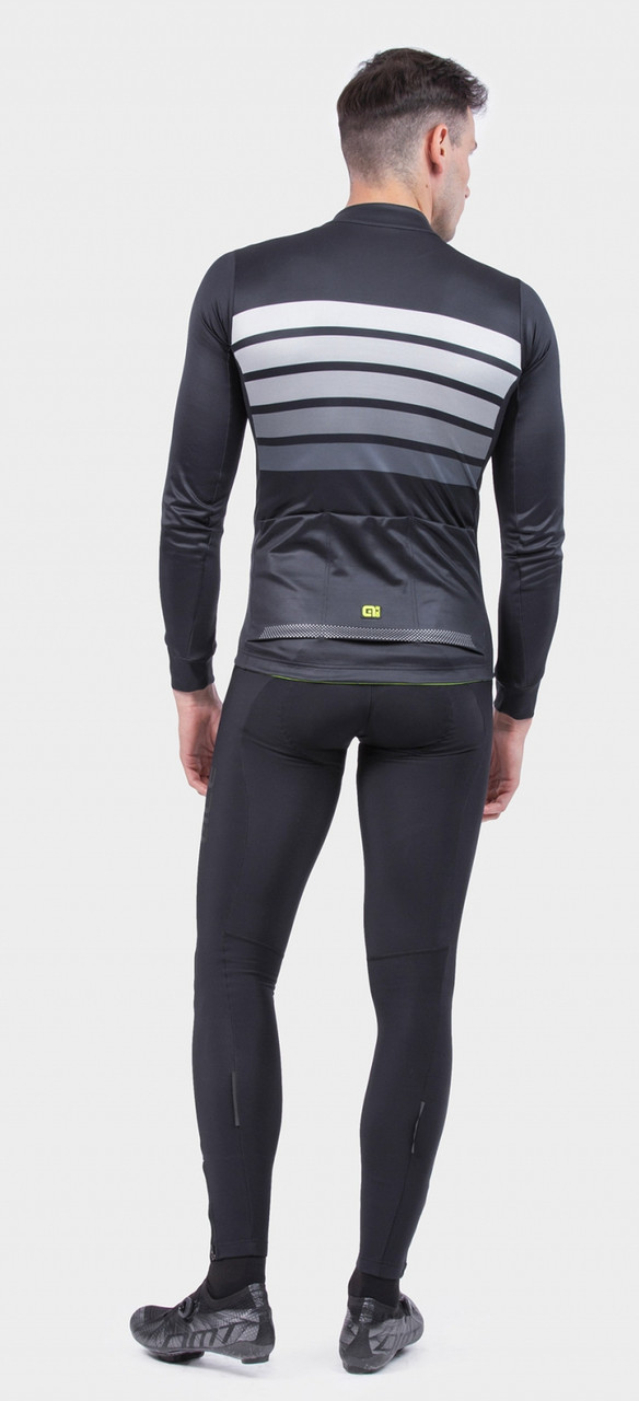 ALE' Sombra Wool Thermo PRR Gray Long Sleeve Jersey Rear