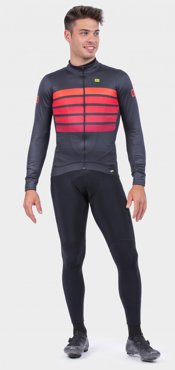 ALE' Sombra Wool Thermo PRR Bordeaux Long Sleeve Jersey Rider