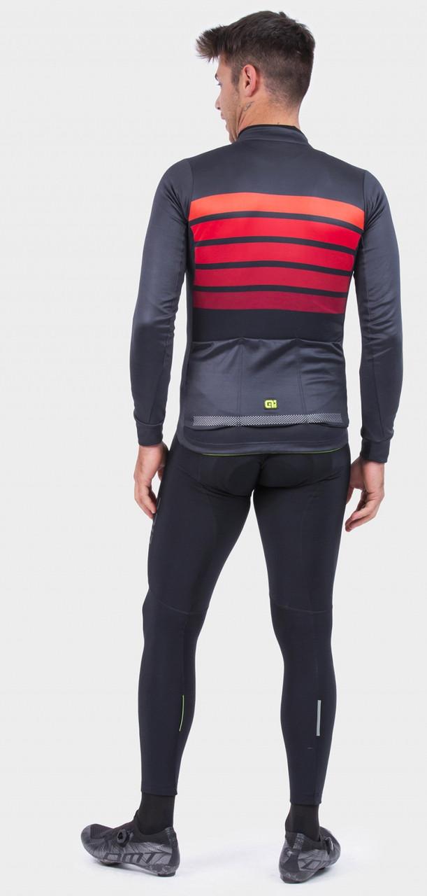 ALE' Sombra Wool Thermo PRR Bordeaux Long Sleeve Jersey Rear