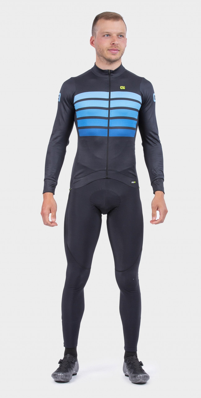 ALE' Sombra Wool Thermo PRR Blue Long Sleeve Jersey Rider